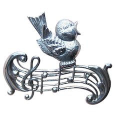 Lang Sterling Silver Pin Brooch - Songbird and Musical Notes | Retro Modern Design