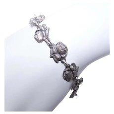 Silver Tone Metal Religious Saints Bracelet - Single Rose Top | Miraculous Mary Medal Drop