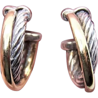 David Yurman 18K Gold Sterling Silver Cable Hoop Earrings | Pierced Earrings - Posts with Nuts | Small Size