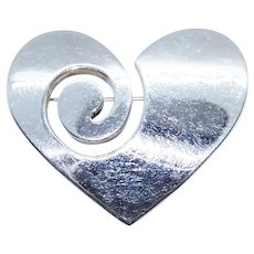 Made in Mexico Mexican Sterling Silver Pin Brooch - Modernist Heart Design