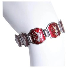 Made in Thailand Thai Siam Sterling Silver Red Enamel Link Bracelet
