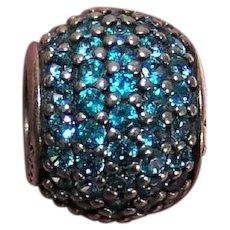 Pandora Sterling Silver Teal Blue CZ Pave Lights Charm - #791051MCZ - 1.8 Grams