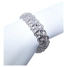 """Elco Sterling Silver 7.5"""" Double Chain Link Starter Charm Bracelet 
