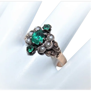Antique Victorian 14K Gold Emerald Glass Paste Faux Pearl Engagement/Promise Ring | Rose Gold | Size 8.5