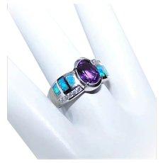 Sterling Silver Lab Opal Amethyst Cubic Zirconia/CZ Fashion Ring
