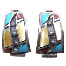 Native American Zuni Sterling Silver Inlaid Stone Watch Band Ends