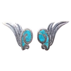 Made in Mexico Mexican Sterling Silver Crushed Turquoise Inlay Screwback Earrings | Eagle 3 Hallmark