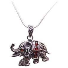 Sterling Silver Garnet Marcasite Pendant - Elephant with Upraised Trunk for Good Luck