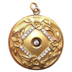 Art Nouveau Gold Filled Rhinestone Locket Pendant - Flower Floral Front | Large Round Size