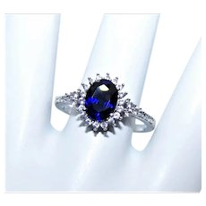 Sterling Silver Blue Sapphire Cubic Zirconia CZ Fashion Ring | Princess Diana Engagement Ring Design | Size 8