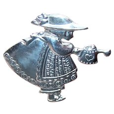 Mary Engelbreit Designs Sterling Silver Pin Brooch - Mary Jane with Watering Can | In the Garden