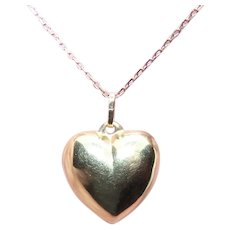 14K Gold Puffy Heart Charm Pendant | Yellow Gold Heart Charm