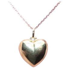 14K Gold Puffy Heart Charm Pendant   Yellow Gold Heart Charm