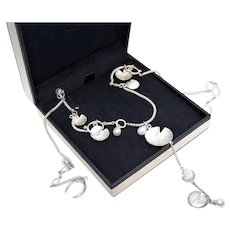 Links of London Sterling Silver Freshwater Cultured Pearl Lily Pad Chain Necklace with Center Dangle Drop