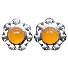 Sterling Silver Yellow Agate Clip Earrings - Gucci-Like Chain Design