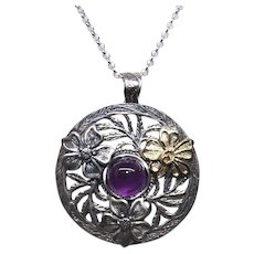Made in Israel Sterling Silver 14K Gold Amethyst Pendant - Lots of Flower and Leaves