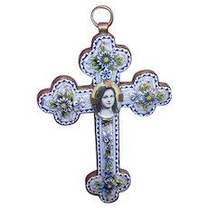 Vintage ITALIAN Cross Pendant - Italian, Micromosaic, Gilt Metal, Religious, Saint Therese