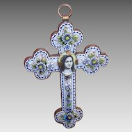 Vintage ITALIAN Gilt Metal & Micromosaic Religious Cross Pendant - Saint Therese Center (Removeable)!