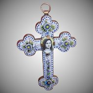 Vintage ITALIAN Gilt Metal & Micromosaic Religious Cross Pendant - Saint Therese Center (Removeable)!