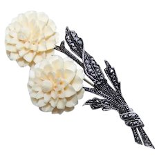 Made in Germany German Sterling Silver Carved Bone Marcasite Double Flower Pin Brooch   Floral Pin