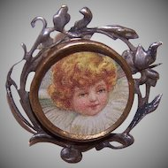 C.1900 French Brass/Base Metal Picture Pin/Brooch!
