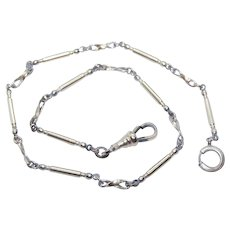 """Art Deco 13-1/2"""" Rose Gold Filled Watch Chain - Bars Balls with Twisted Wire Spacers   7.7 Grams"""