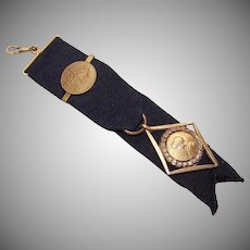 C.1900 FRENCH Watch Fob - 18K Gold Filled, Joan of Arc Medal, Black Grosgrain Ribbon