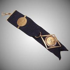 C.1900 FRENCH Watch Fob - 18K Gold Filled, Joan of Arc Medal, Black Grosgrain Ribbon