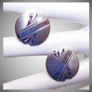 1950s STERLING SILVER Cufflinks with Engraved Fronts!