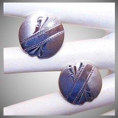 Vintage STERLING SILVER Cufflinks - Round, Engraved, Retro Modern