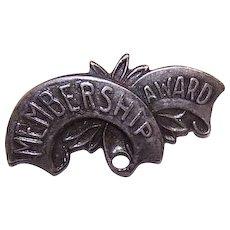 EDWARDIAN Sterling Silver Pin - Ribbon, Banner, Membership, Award, Brooch
