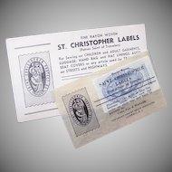 Unique C.1949 Set/5 ST. CHRISTOPHER Fine Rayon Labels for Clothing