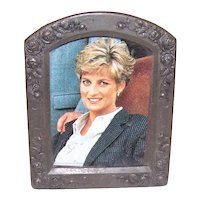 Antique Victorian Dark Metal Frame Decorated with Roses   Easel Back   Center Photo Can be Replaced