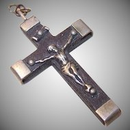 Vintage FRENCH Crucifix - Silverplate, Ebony, Cross, Rosary Piece