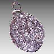 Vintage SILVERPLATE Medal - Religious, French, Charm, Pendant, Saint Bernadette, Virgin Mary