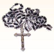 Vintage SILVER PLATE & Black/White Crystal Rosary!