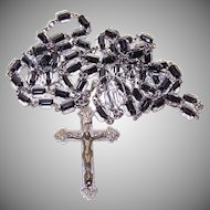 Vintage SILVER PLATE & Black/White Crystal Rosary!