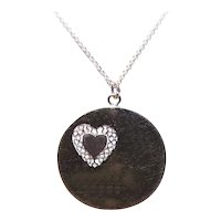 Wells Sterling Silver Pendant or Charm - Large Round Disc with Cut Out Heart
