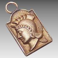 Vintage GOLD FILLED Medal or Charm - Greek, Roman or Trojan Soldier!