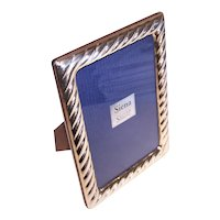"""Siena Sterling Silver and Wood Easy Open 5"""" x 7"""" Rectangular Frame - 5.75 x 3.75"""" Square Opening"""