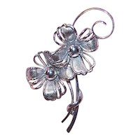 Forstner Sterling Silver Pin Brooch - A Pair of Flowers Florals with Curlicues
