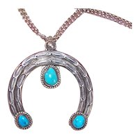 Native American Navajo Sterling Silver Turquoise Naja Pendant