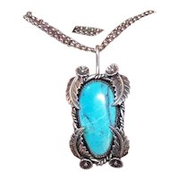 Michael Rogers Paiute Native American Sterling Silver Blue Diamond Turquoise Pendant