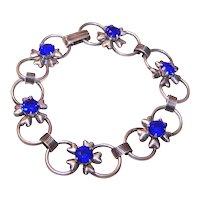 Sterling Silver Blue Rhinestone Link Bracelet | Retro Modern Design with Florals Flowers