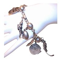 Horacio de la Parra Made in Mexico Mexican Sterling Silver Charm Bracelet with 8 Charms
