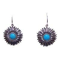 Sterling Silver Turquoise Glass Earrings - Daisy-Like Flowers Florals | Pierced Earrings