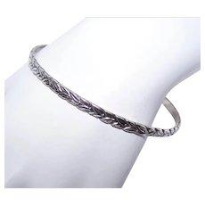 """2 Sterling Silver 3/16"""" Wide Bangle Bracelets - Leaf Design"""