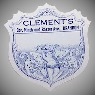 Pair of C.1900 Butterfly Cherub Labels for Clements, Brandon, Manitoba!