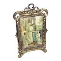 Antique Edwardian French Gilt Bronze Pedestal Frame - Celluloid First Communion of Boy Insert