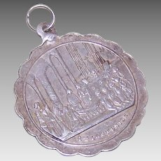 Antique Victorian FRENCH SILVER First Communion Medal - Charm, Pendant, Unengraved